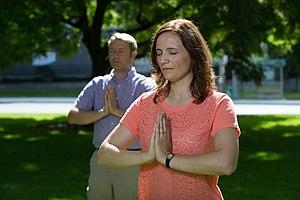Falun Gong - Falun Gong adherents practice the third exercise in Toronto.