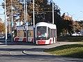 Tram 502 at Peterburi tee in Tallinn 20 October 2015.jpg