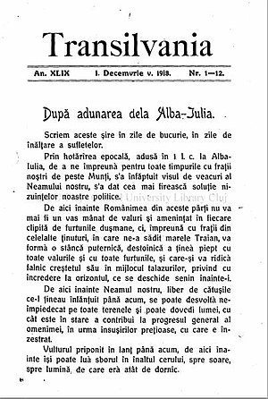 Union of Transylvania with Romania - First page of Transilvania newspaper from December 1918, referring to the event