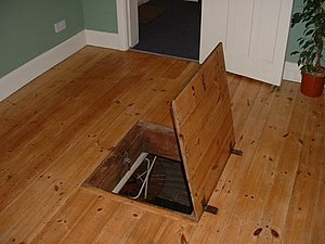 Trapdoor - A trapdoor to a bomb shelter from World War II