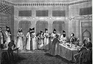 Ivan Paskevich - Paskevich with Abbas Mirza at the signing of the Treaty of Turkmenchay, 1828.