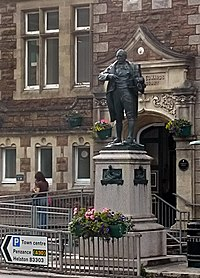 Richard Trevithick's statue by the public library at Camborne, Cornwall