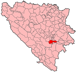 Location of Trnovo, Federation of Bosnia and Herzegovina within Bosnia and Herzegovina.