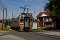 Trolley turning onto 11th St Eastbound thru Michigan City, Indiana.jpg