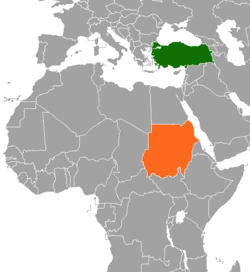 Map indicating locations of Turkey and Sudan