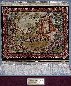 Hereke carpet - Silk on silk Hereke carpet    0.6 m2, 32 x 32 knots/cm2; 13 years of work
