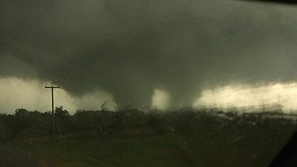 Tornado outbreak of April 14–16, 2011 - The Tushka, Oklahoma tornado displaying multiple funnels within the main vortex.