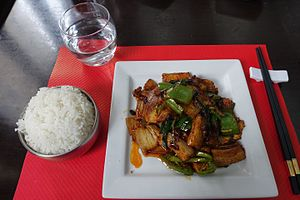 Twice cooked pork - Image: Twice cooked pork, Jia Yan, 5 rue Humblot, Paris 001