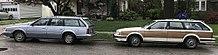 oldsmobile cutlass ciera a pair of 5 door cutlass cruiser wagons one featuring wood paneling
