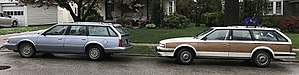 Oldsmobile Cutlass Ciera - A pair of 5-Door Cutlass Cruiser wagons, one featuring wood paneling.
