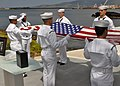 U.S. Sailors participate in an ash-scattering ceremony for retired Chief Petty Officer Earl Selover at the USS Utah Memorial on Ford Island in Pearl Harbor, Hawaii, May 22, 2013 130522-N-QG393-071.jpg
