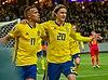 UEFA EURO qualifiers Sweden vs Romaina 20190323 Celaebrate Robin Quaison and Kristoffer Olsson.jpg