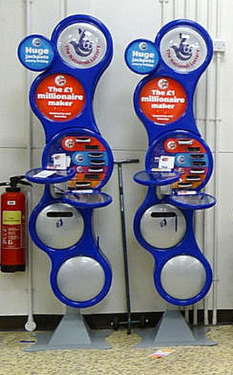 National Lottery (United Kingdom) - 2 of the old Lottery Ticket stands in a supermarket