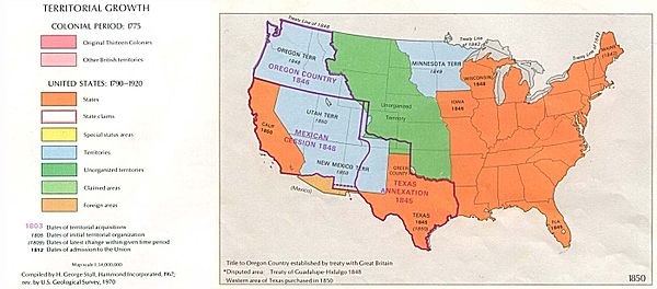 United States territorial growth from 1840 to 1850 USA Territorial Growth 1850.jpg
