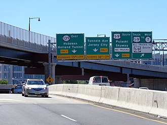 U.S. Route 1/9 - Near the ramps constructed in 2012, which allow traffic to by-pass the Tonnele Circle