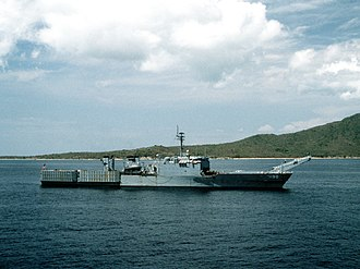 USS Boulder (LST-1190) - Image: USS Boulder (LST 1190) anchored off Puerto Rico on 30 March 1988 (6449218)