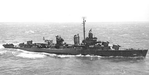 USS Halford (DD-480) - Halford with the catapult and an OS2U scout plane, July 1943.