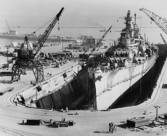 USS Iowa (BB-61) - Iowa in drydock in San Francisco, undergoing repairs and modernization after being damaged during Typhoon Cobra