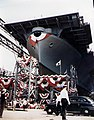 USS Wasp (CV-18) ready for launching at Fore River Shipyard 1943.jpg