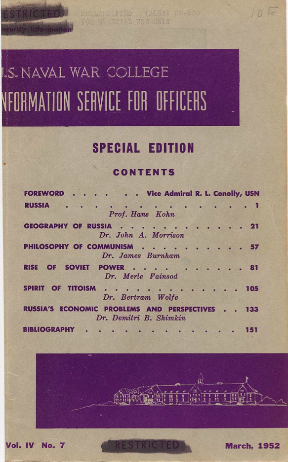 US Naval War College Review - Front cover, Vol IV, Num 7, March 1952