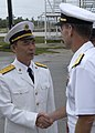 US Navy 031025-N-7293M-089 Rear Adm. Xue Tianpei, Deputy Commander of the People's Republic of China's South Sea Fleet, and Rear Adm. Frederic R. Ruehe, Commander, U.S. Naval Forces, Japan.jpg
