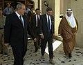 US Navy 040628-F-1351B-004 Prime Minister Ayad Allawi, Ambassador L. Paul Bremer, and President Sheikh Ghazi Ajil al-Yawar make their farewells.jpg