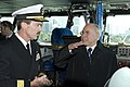 US Navy 070705-N-8591H-353 Rear Adm. Rick Wren, commander of Carrier Strike Group 5, and Australian Prime Minister John Howard talk about flight operations on the bridge aboard USS Kitty Hawk (CV 63).jpg