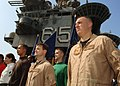 US Navy 070911-N-5928K-007 Sailors conduct a Sept. 11 commemoration ceremony on the flight deck of nuclear-powered aircraft carrier USS Enterprise (CVN 65).jpg