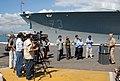 US Navy 090209-N-5476H-082 Rear Adm. Joseph Walsh, deputy commander of U.S. Pacific Fleet, speaks with media beside the guided-missile cruiser USS Port Royal (CG 73).jpg