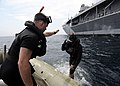 US Navy 090519-N-4399G-016 Sailors a conduct a training dive near the amphibious command ship USS Blue Ridge (LCC 19).jpg