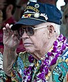 US Navy 111207-N-WX059-081 Ernest Thompson, a Pearl Harbor survivor assigned to USS Oklahoma, salutes during the national anthem on Ford Island.jpg