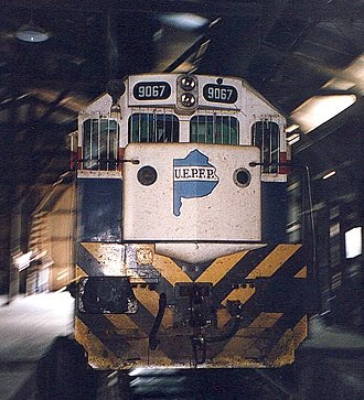 Ferrobaires - A diesel locomotive with the UEPFP logo.