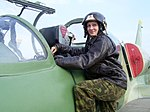 Ukraine Ministry of Defense woman entering jet.jpg
