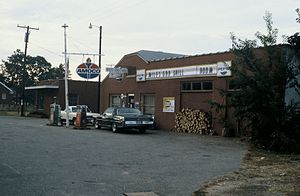 Union Grove, Iredell County, North Carolina - Center of Union Grove Township showing Miles Grocery, filling station and Post Office in 1982.
