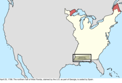 Map of the change to the international disputes involving the United States in central North America on April 25, 1796