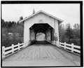 VIEW OF NORTH APPROACH - Jordan Covered Bridge, Spanning Thomas Creek, County Road 829, Scio, Linn County, OR HAER ORE,22-SCIO.V,1-2.tif