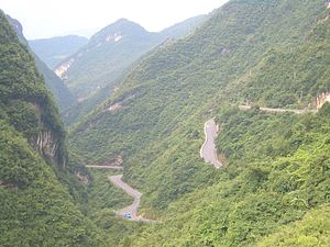 China National Highway 209 - Highway 209 climbing from the Liangtai River valley (Gaoqiao town) toward Wanchaoshan Mt (Wujiaping), in Xingshan County, Hubei