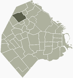 Location of Villa Urquiza within Buenos Aires