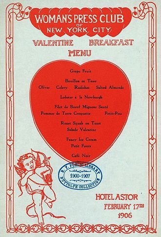 Woman's Press Club of New York City - A Valentine's menu at Hotel Astor in 1906