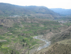 Colca River with the village Lari in the background