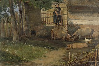 Pigs in a barnyard