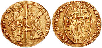 Ducat - Saint Mark standing giving gonfalone to the kneeling doge. S(anctus) M(arcus) VENET(I) DVX MICAEL STEN