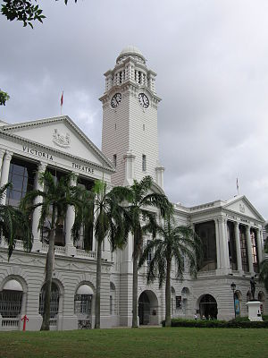Majulah Singapura - The Victoria Theatre and Concert Hall as it appeared in January 2006. Victoria Theatre was the venue for the first public performance of Majulah Singapura on 6 September 1958.