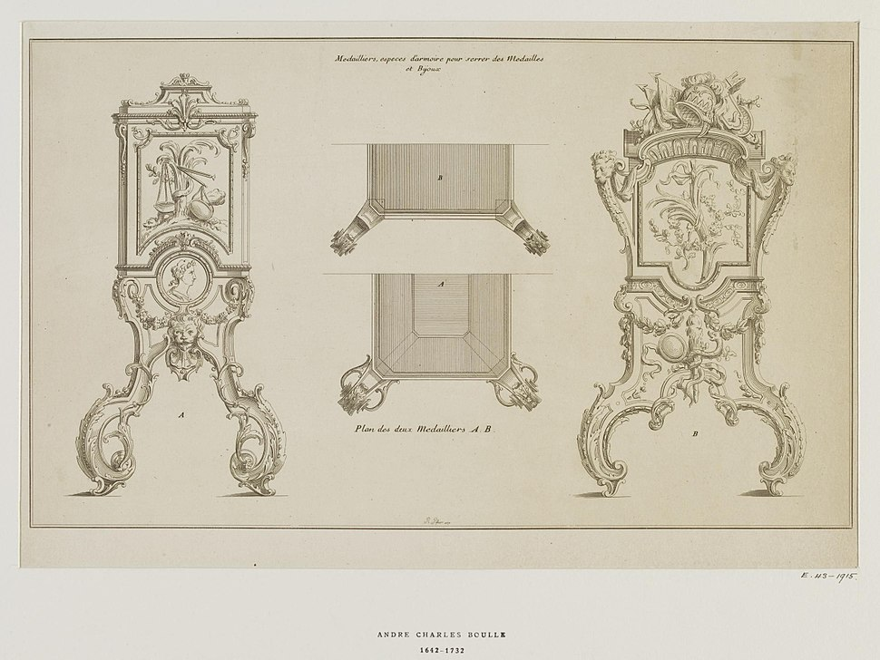 Victoria and Albert Museum Design for medal cabinet c.1720 Andr%C3%A9-Charles Boulle Museum number E.43-1915 Prints Drawings Study Room, level D, case EO, shelf 51