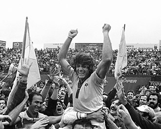 Guillermo Vilas - Vilas after winning the Buenos Aires Open and securing the first place in the 1977 Grand Prix Circuit.