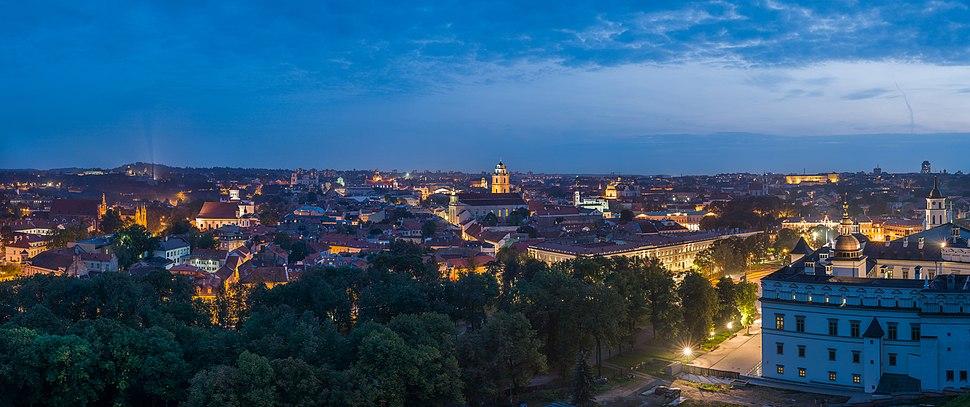 Vilnius Old Town Skyline at dusk, Lithuania - Diliff