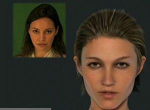 Image Metrics - An actress (left), driving the facial performance of a 3D avatar