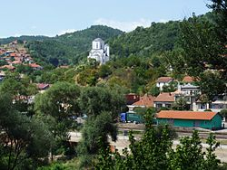 Vladičin Han (Vladičin Han) - church and train station.JPG
