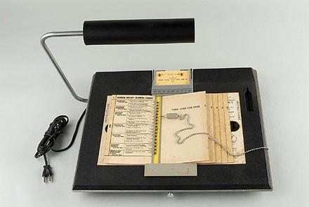 The Votomatic vote recorder, a punched card voting machine originally developed in the mid-1960s. Votomatic.jpg