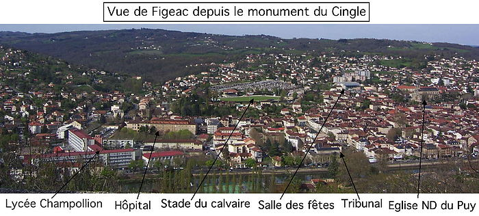 Figeac vue du monument du Cingle